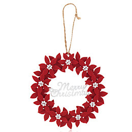 Felt Red Merry Christmas Poinsettia Wreath Decoration