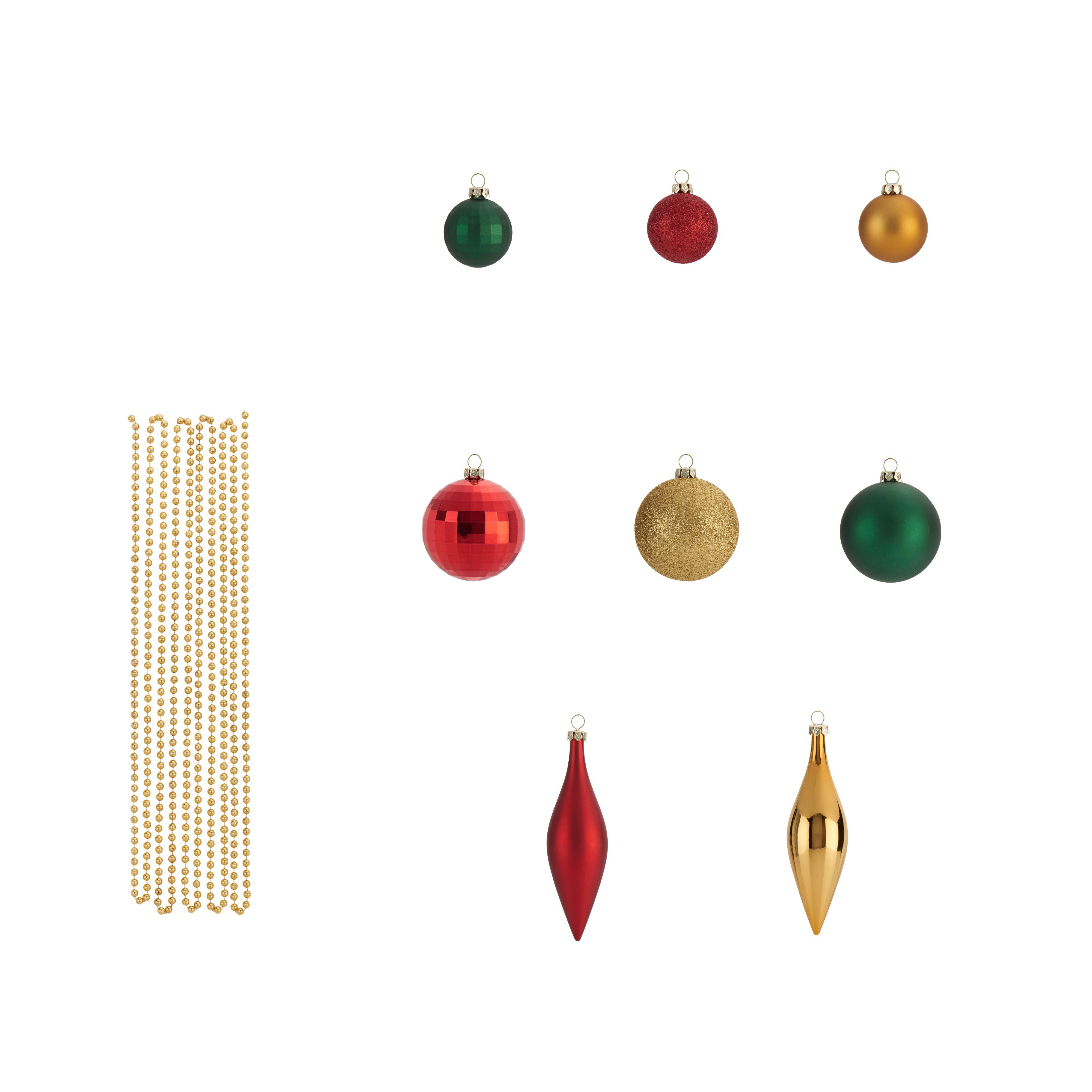 Assorted Gold, Green & Red Decorations, Pack Of 25