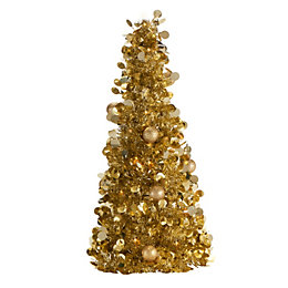 Gold Effect Traditional Table Top Tree