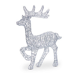Silver Effect Glitter 3D Reindeer Table Top Decoration