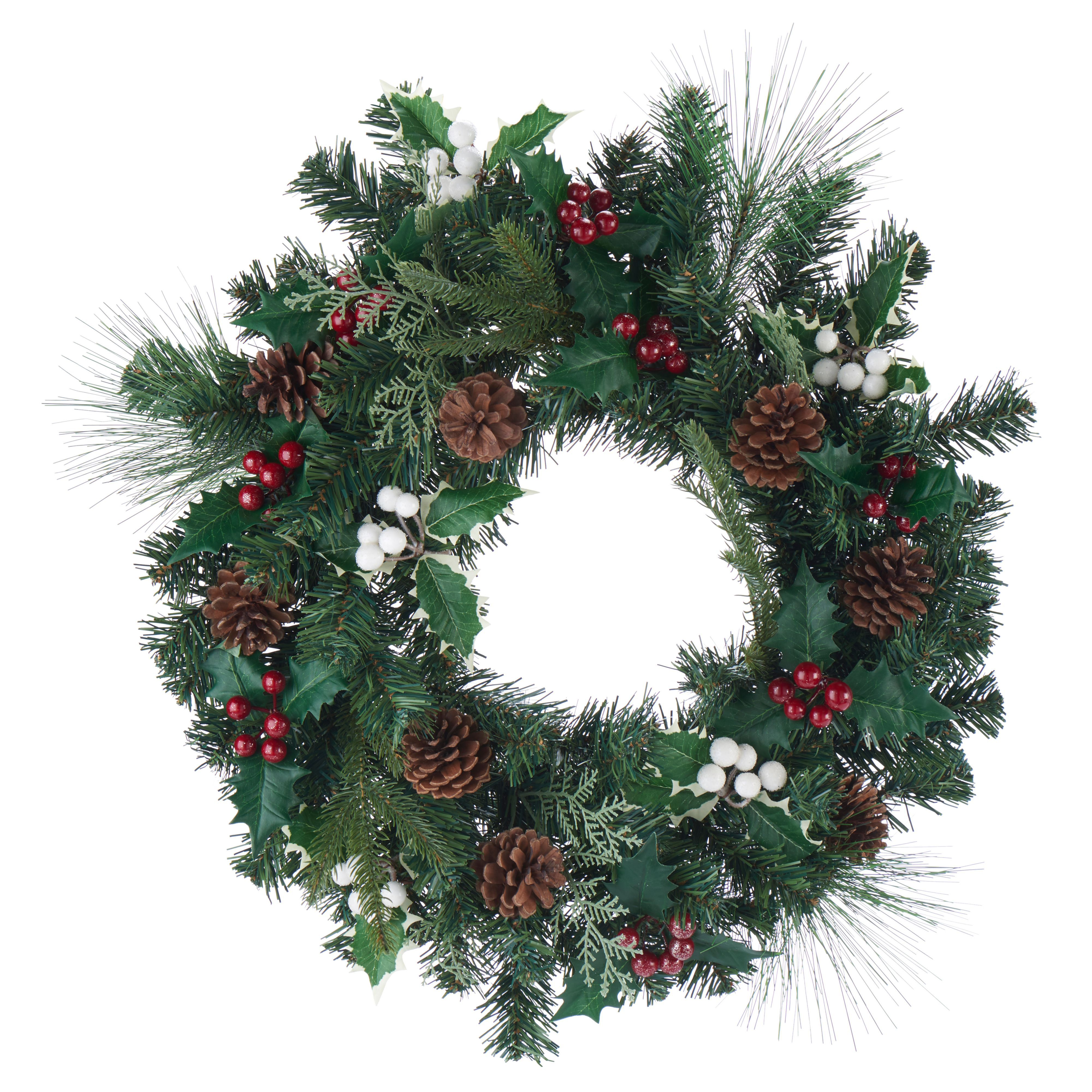 Amden Traditional Green Berry, Holly & Pine Cone Wreath, (d)500mm