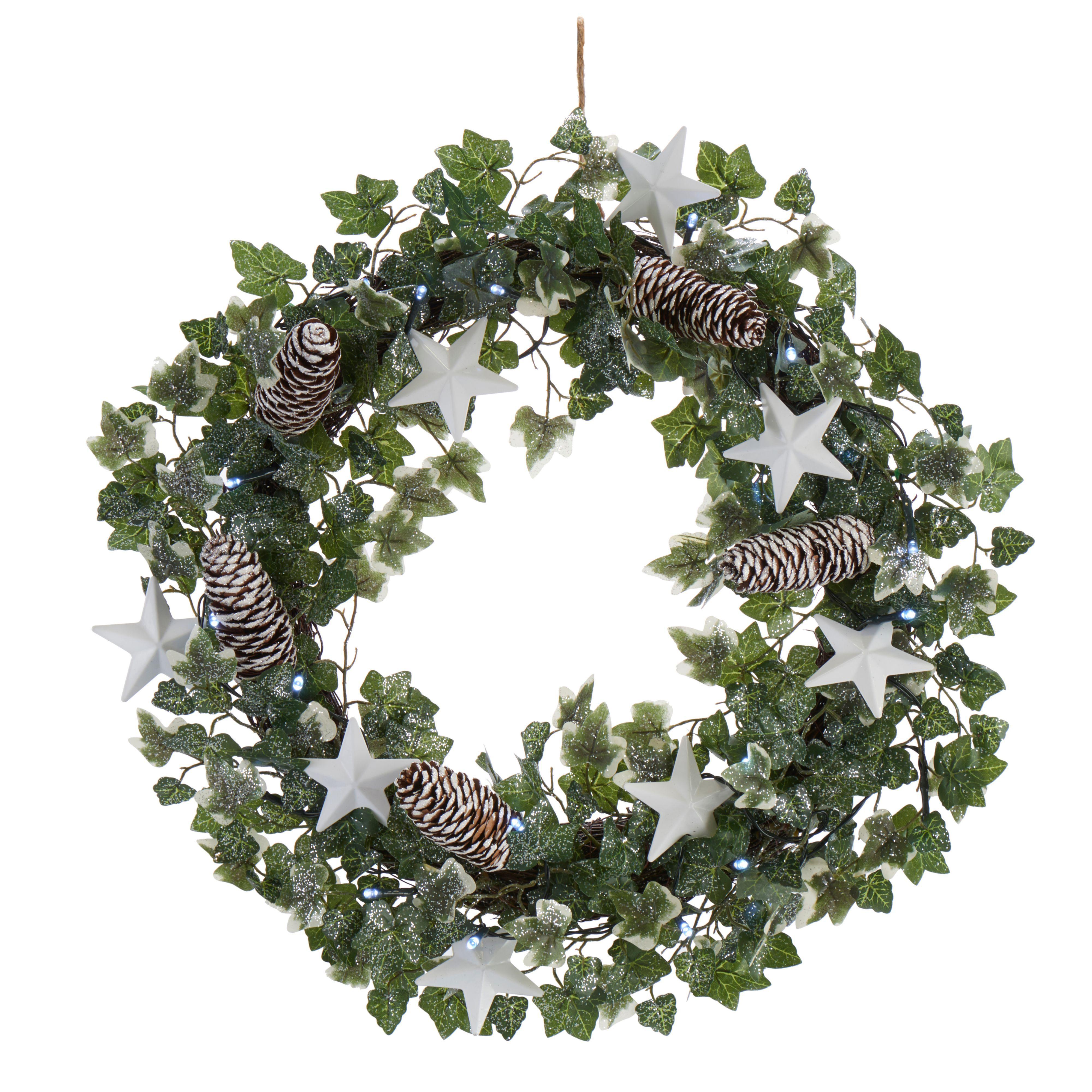 Green & White Ivy & Star Led Wreath, (d)500mm