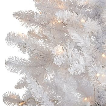 6ft 6In Norski Pre-Lit LED White Artificial Christmas Tree