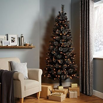 Slim shape of the 7ft Verbier Black Pre-Lit LED Artificial Christmas Tree