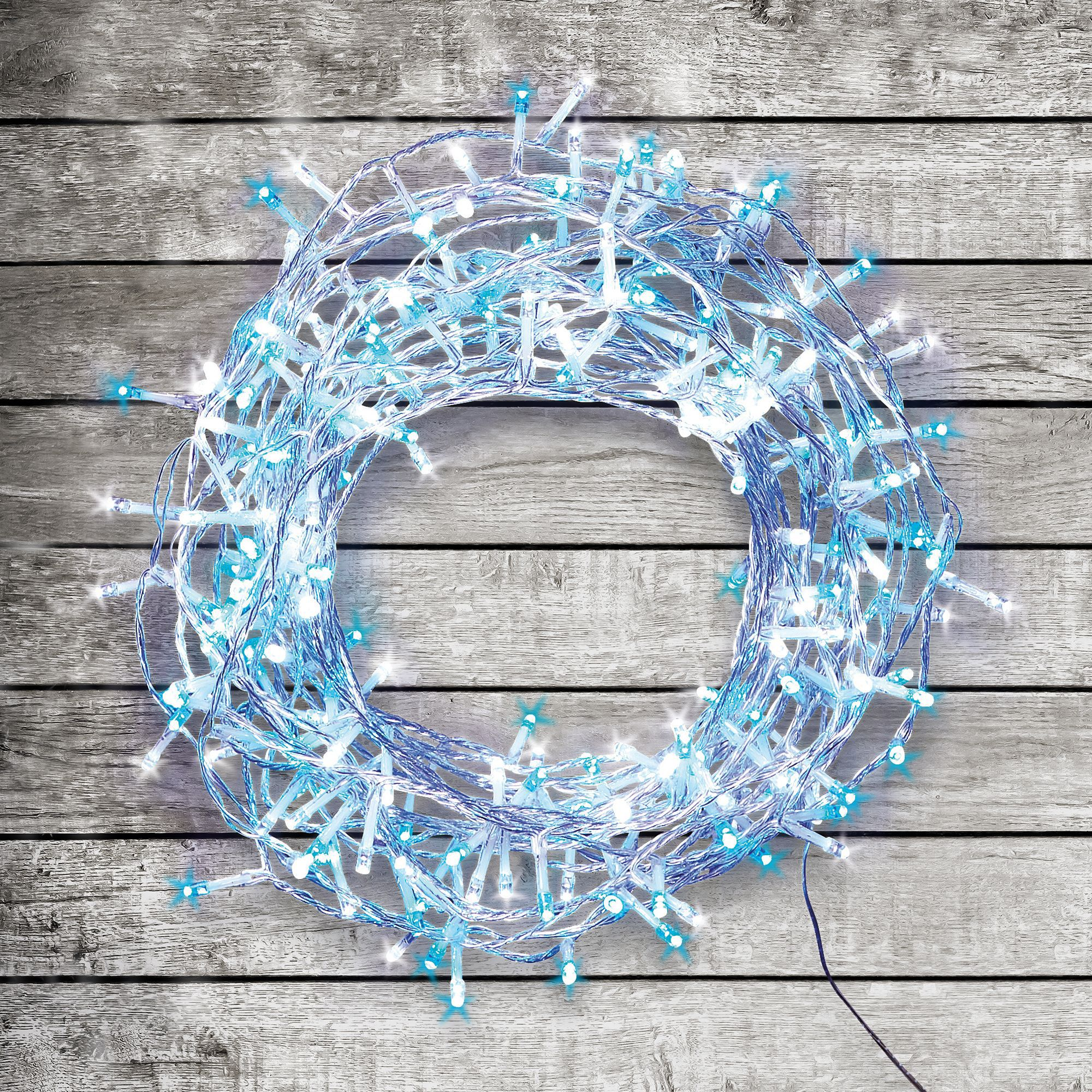 240 Blue & Ice White LED String Lights Departments DIY at B&Q