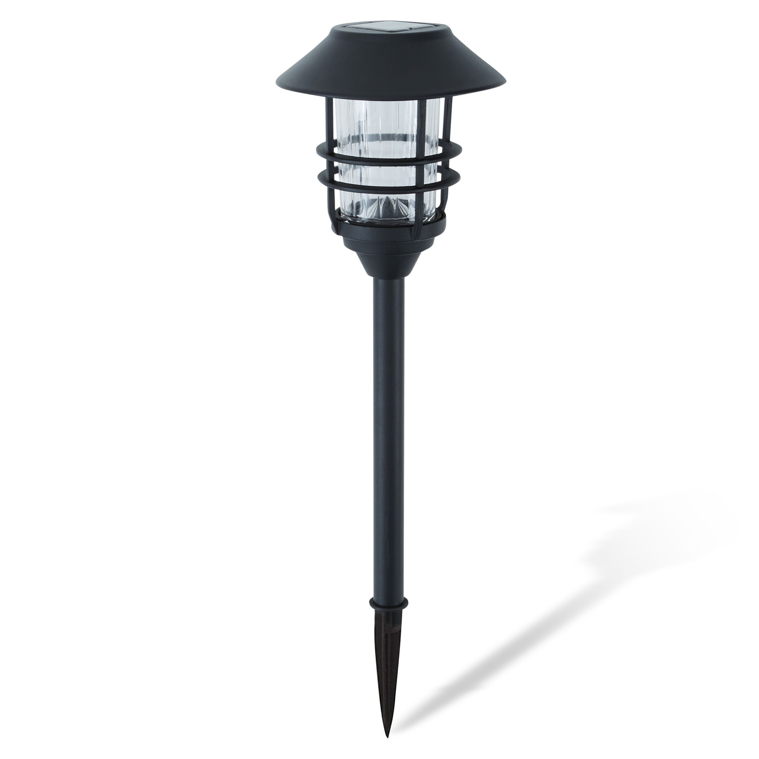 Black Powder Coated Solar Powered Led Stake Light, Pack Of 2