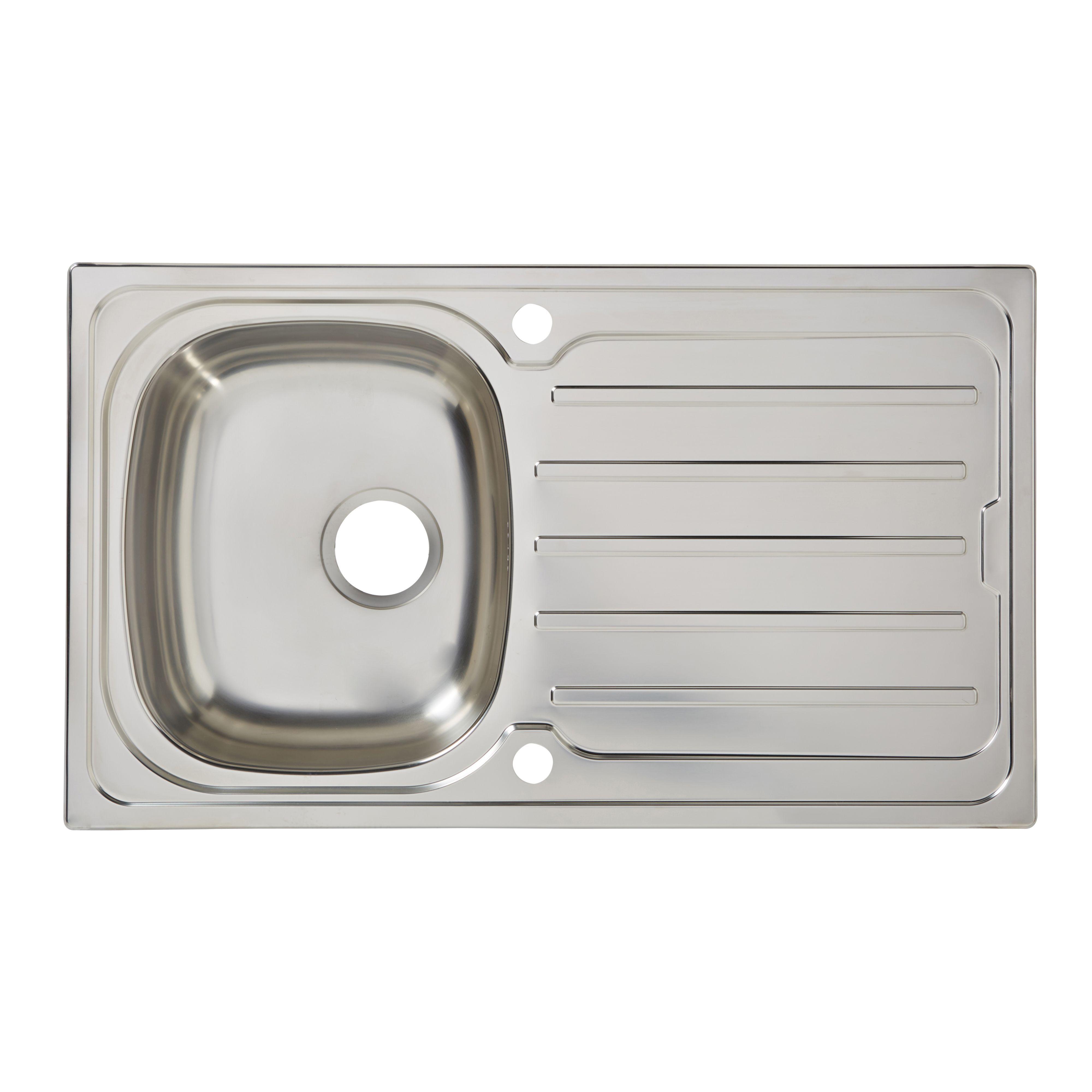 Cooke & Lewis Nakaya 1 Bowl Polished Stainless Steel Sink & Drainer