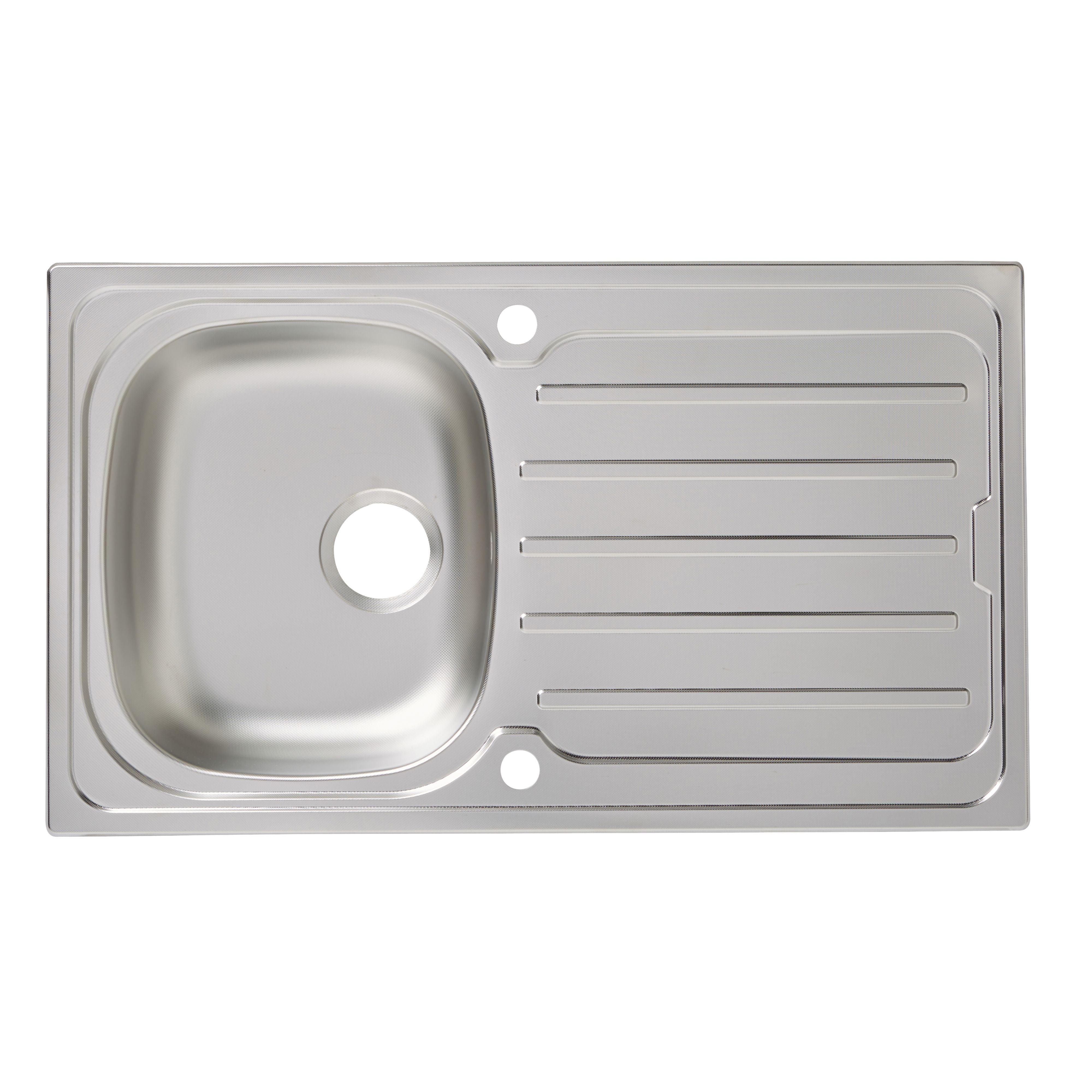Cooke & Lewis Nakaya 1 Bowl Linen Finish Stainless Steel Sink & Drainer
