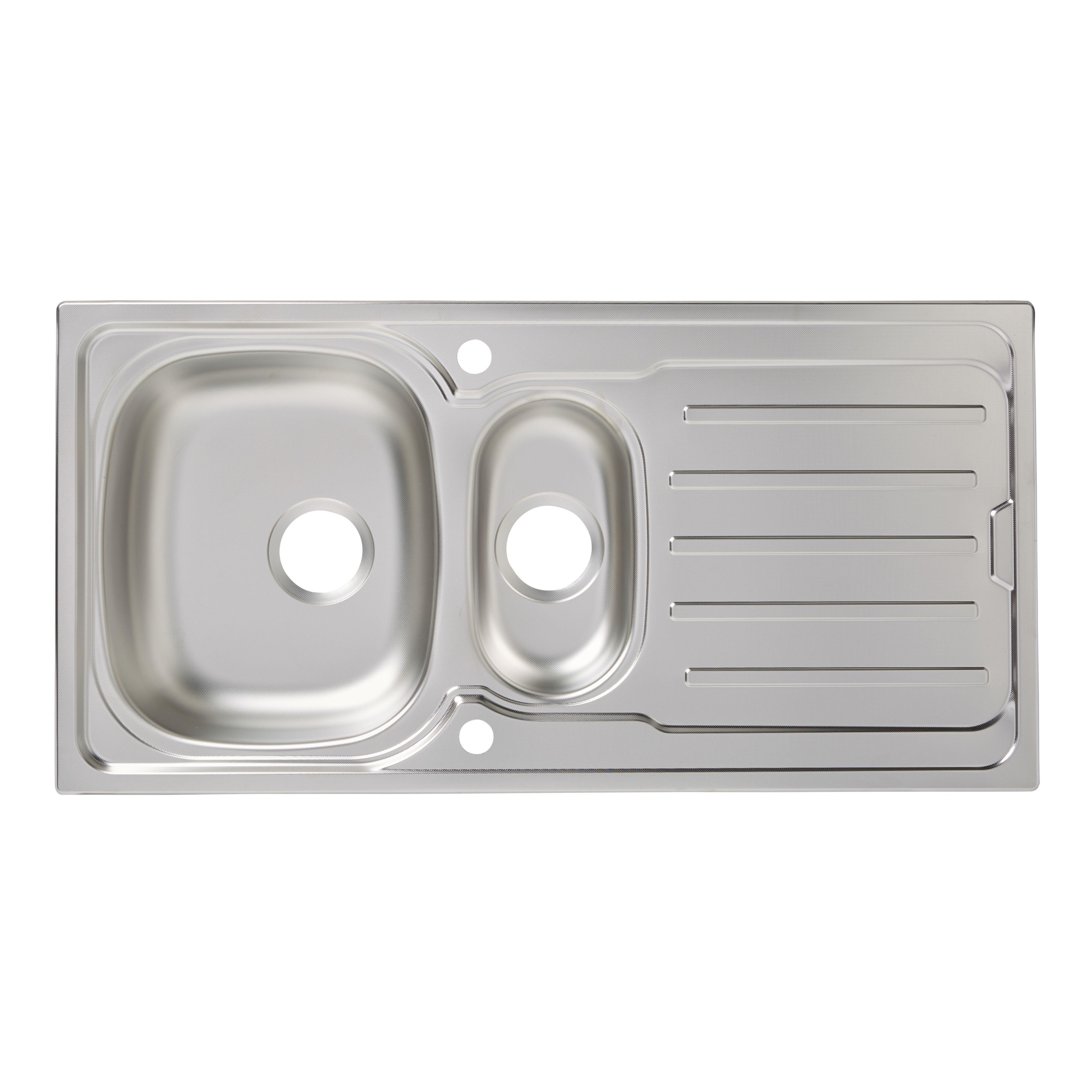 double bowl sinks  kitchen sinks  kitchen  departments  diy at bq - cooke  lewis nakaya  bowl linen finish