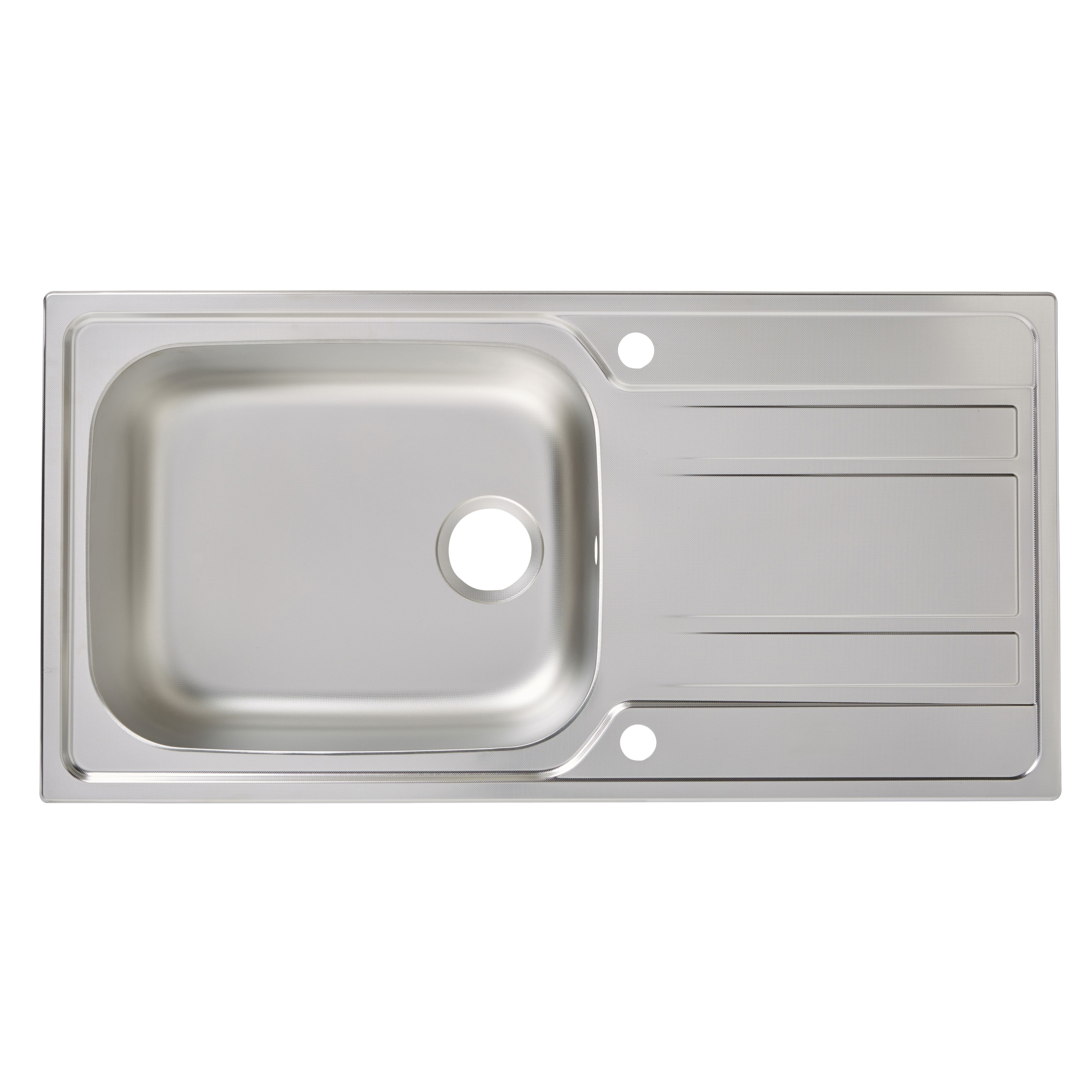 Cooke & Lewis Lyell 1 Bowl Linen Finish Stainless Steel Sink & Drainer