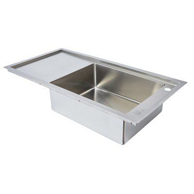 Cooke lewis chadwick 1 bowl white ceramic belfast sink departments diy at b q - Bq kitchen sinks ...