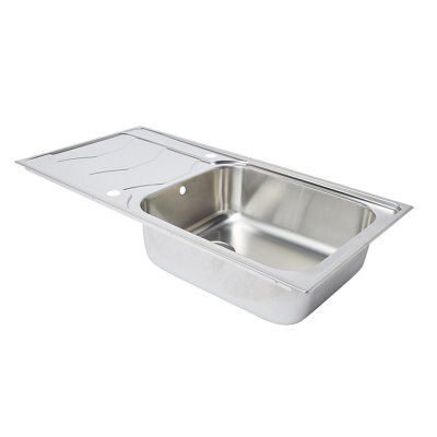 Cooke lewis buckland 1 bowl polished stainless steel sink drainer departments diy at b q - Bq kitchen sinks ...