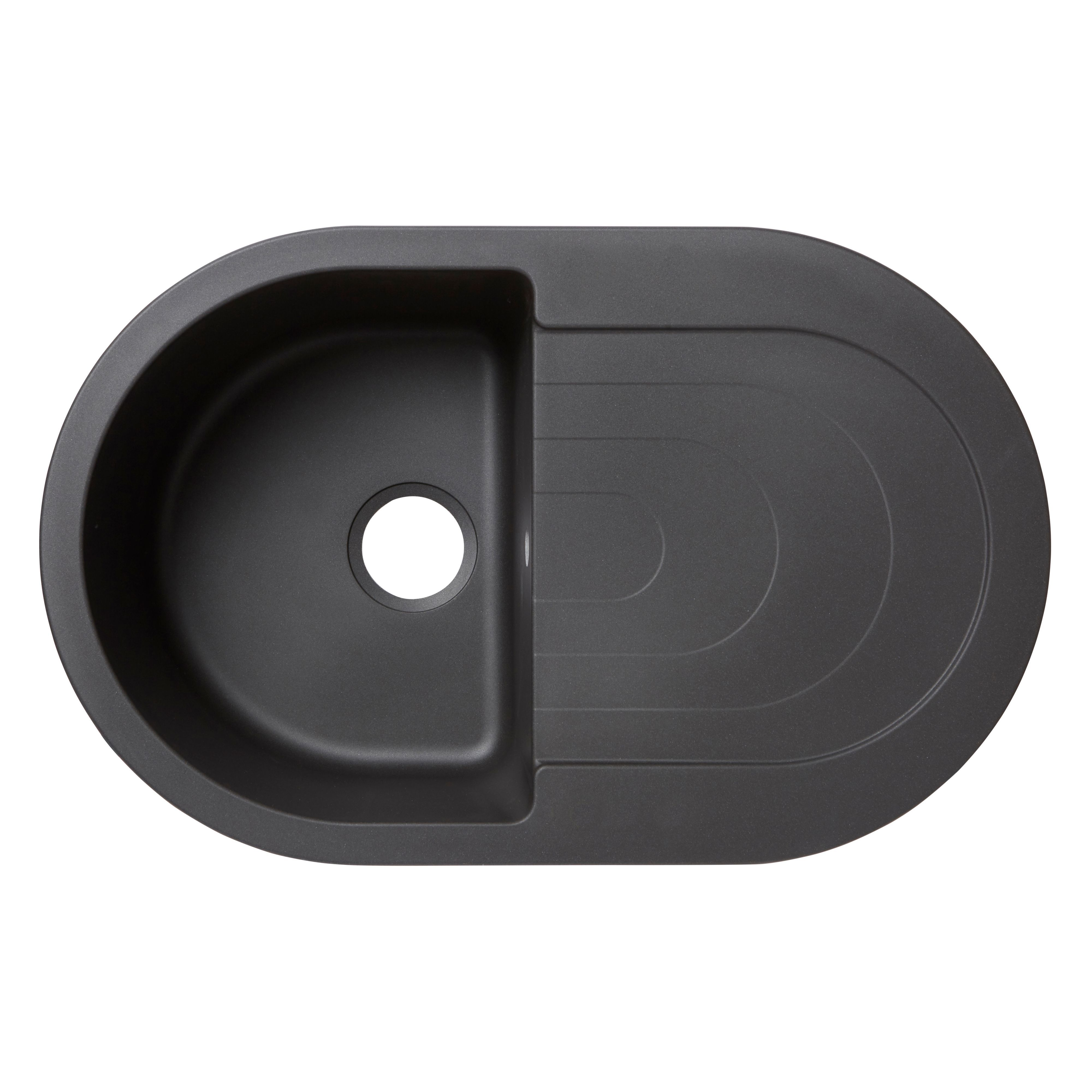 Cooke And Lewis Kitchen Sinks Diy at bq cooke lewis agnesi 1 bowl black composite quartz round sink drainer workwithnaturefo