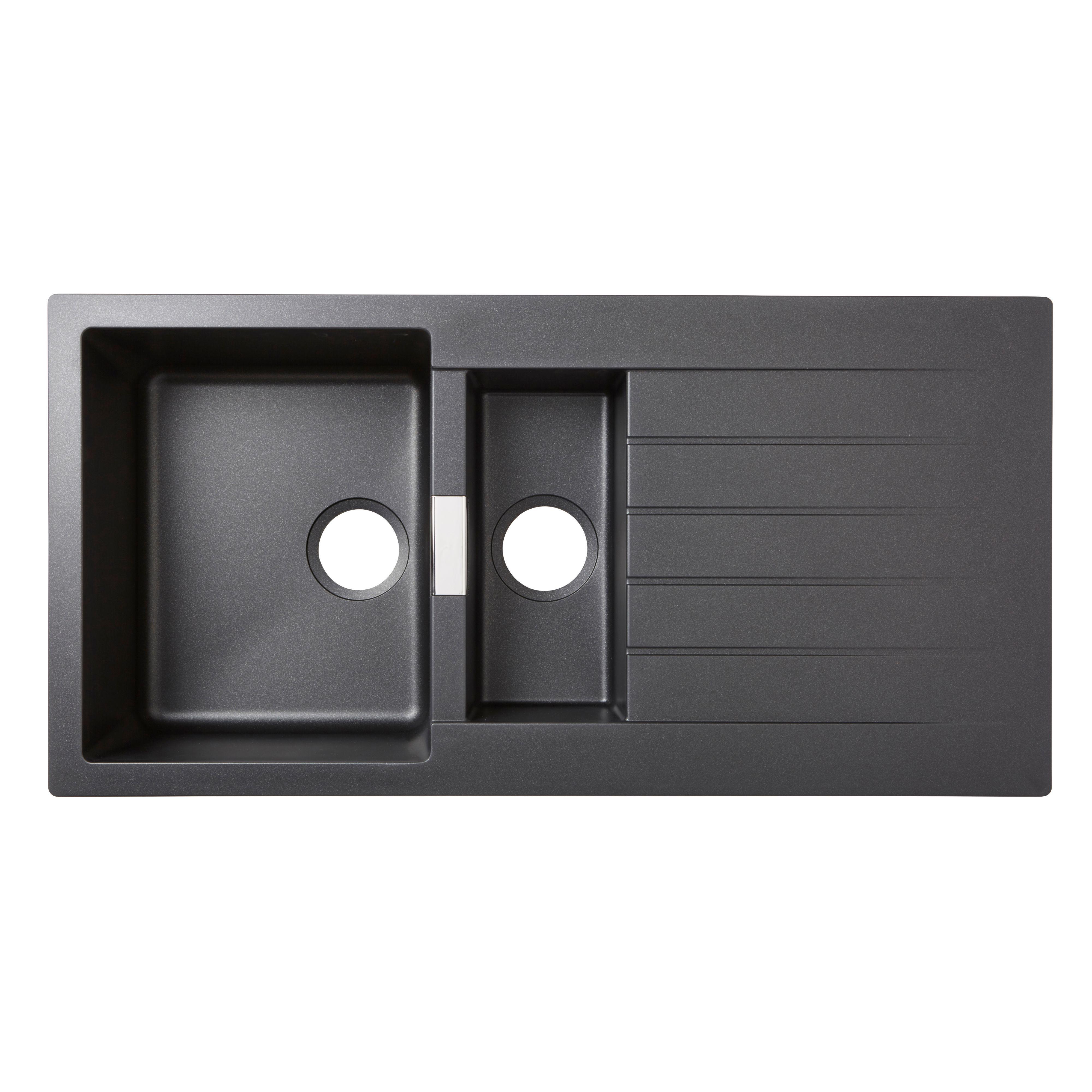 Cooke U0026 Lewis Galvani 1.5 Bowl Black Composite Quartz Sink U0026 Drainer    Departments   DIY At Bu0026Q