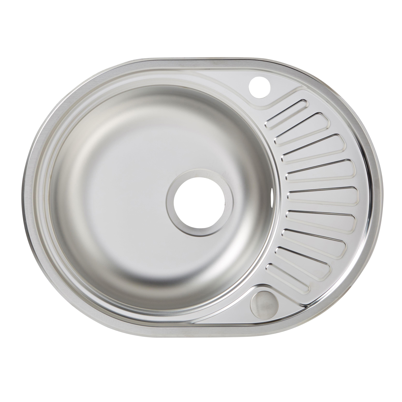 ... Stainless Steel Round Sink & Half Drainer Departments DIY at B&Q