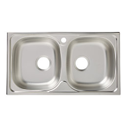 Bohm 2 Bowl Linen Finish Stainless Steel Sink