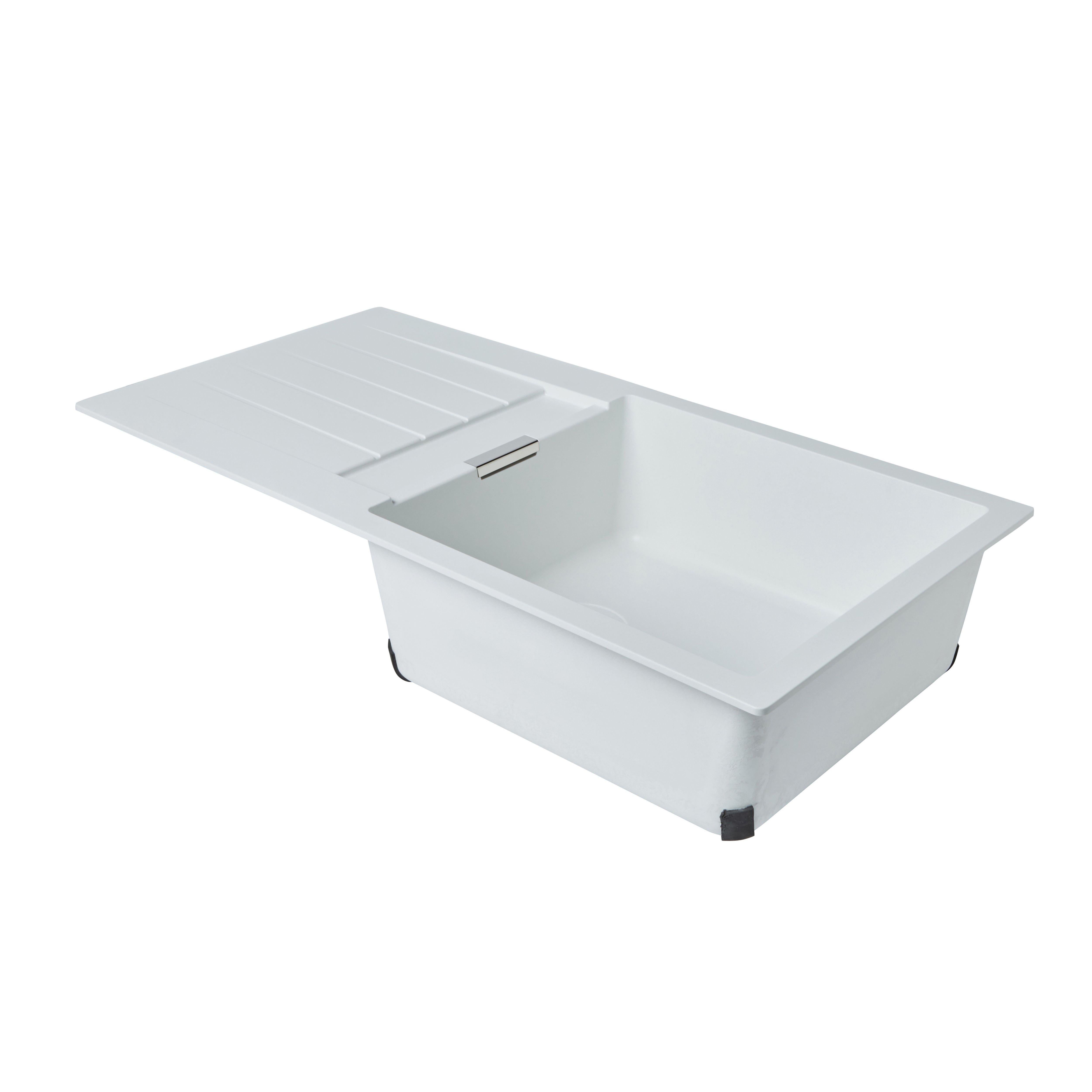 Cif power amp shine bathroom - Cooke Lewis Galvani 1 Bowl White Composite Quartz Sink Drainer Departments Diy At B Q