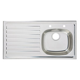 Utility 1 Bowl Polished Stainless Steel Sink &