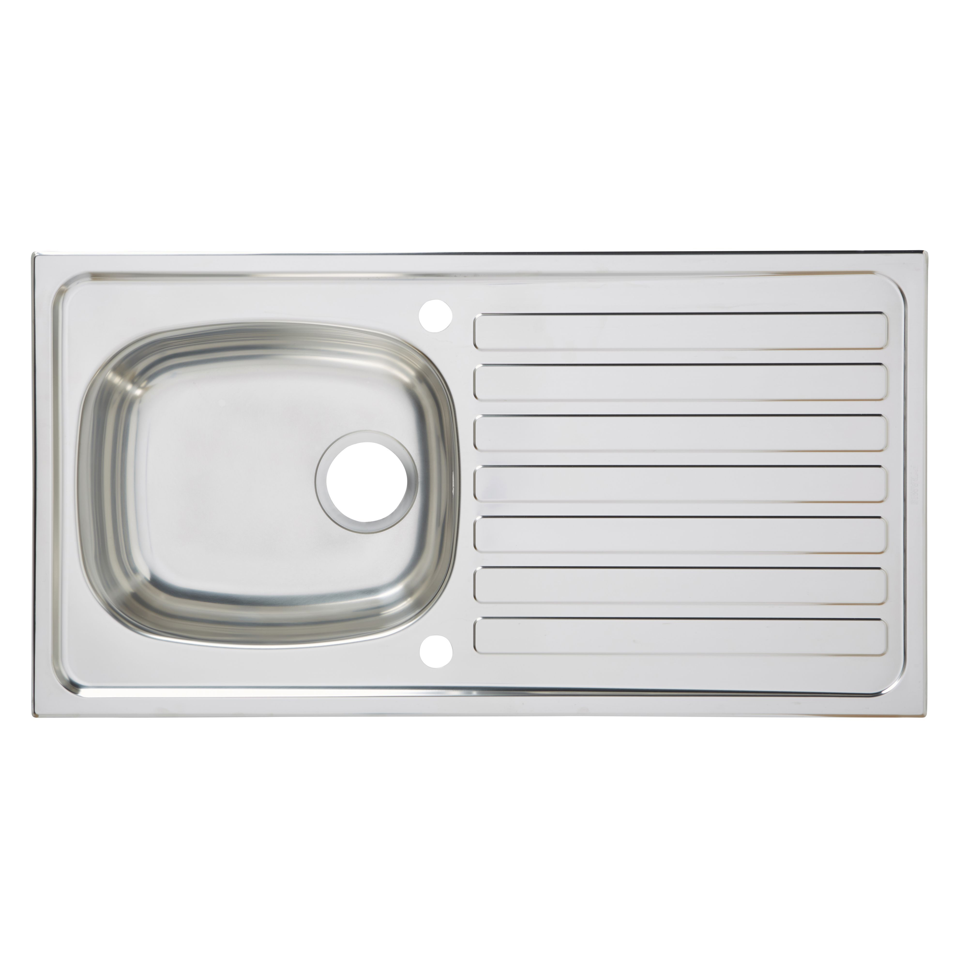 Utility 1 Bowl Polished Stainless Steel Sink & Drainer