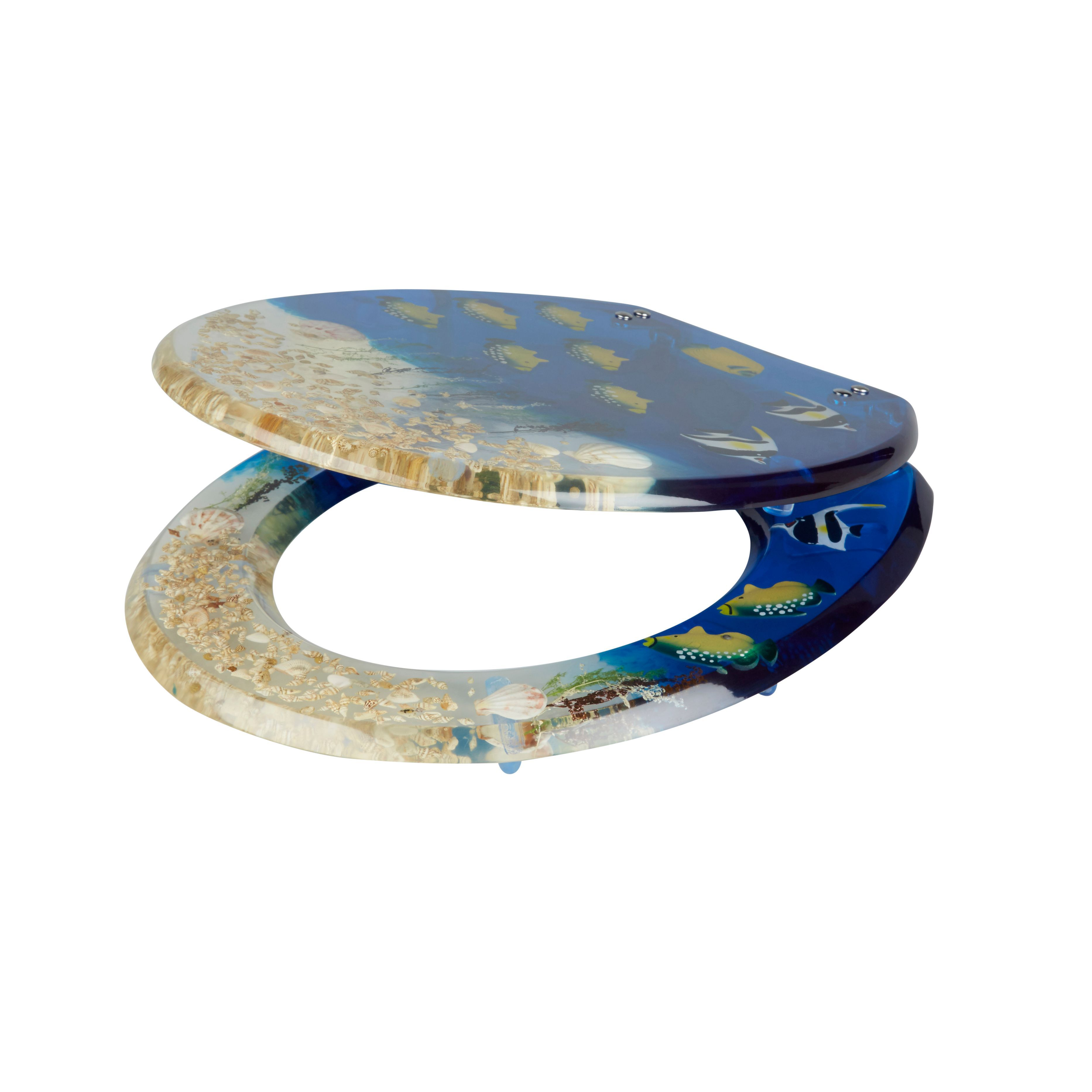 Cooke Lewis Andrano Multicolour Tropical Fish Standard Close Toilet Sea