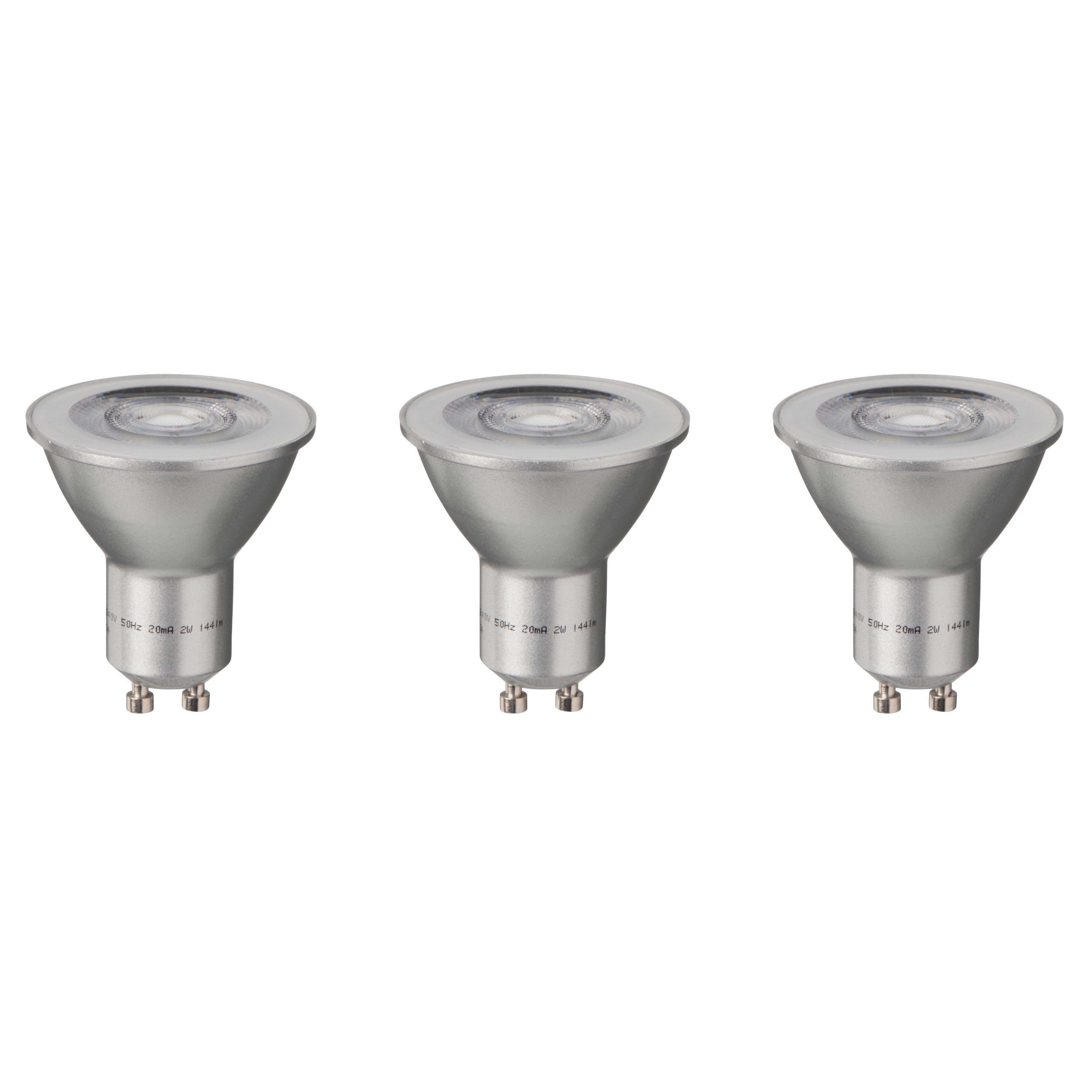 Diall Gu10 144lm Led Reflector Light Bulb, Pack Of 3