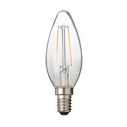 Diall E14 2W LED Filament Candle Light Bulb