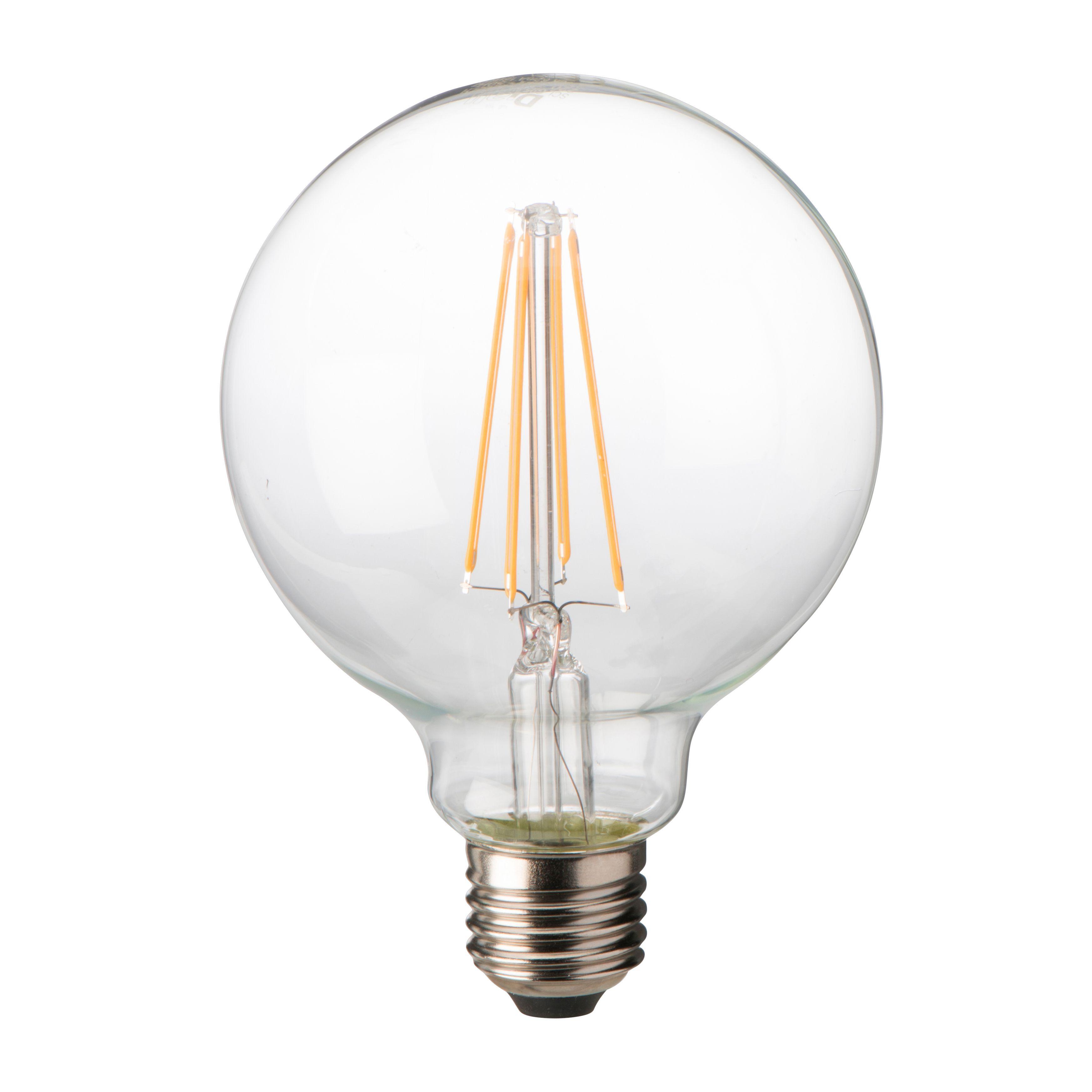 diall e27 8w led filament ball light bulb departments. Black Bedroom Furniture Sets. Home Design Ideas