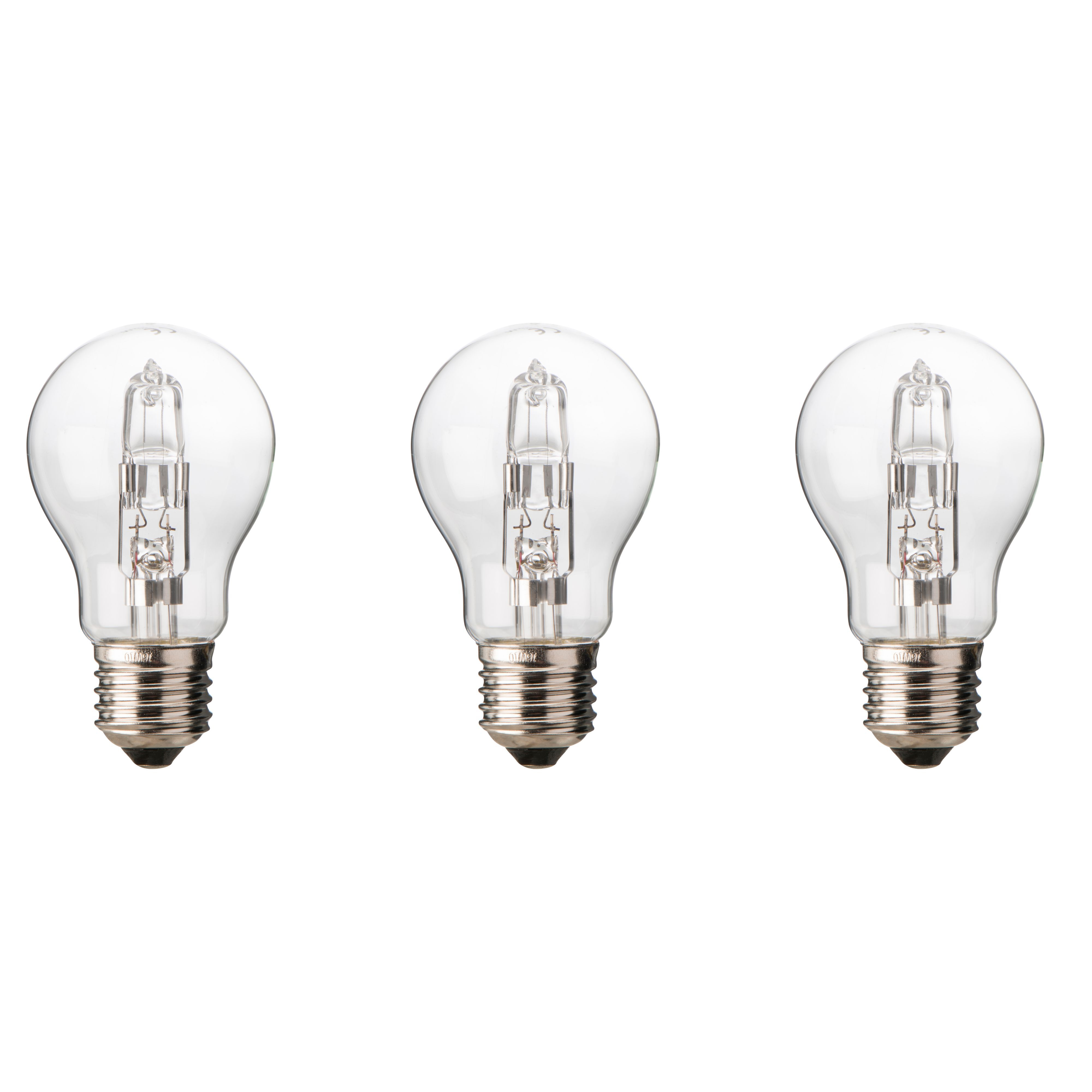 Diall E27 46w Halogen Dimmable Classic Light Bulb, Pack Of 3