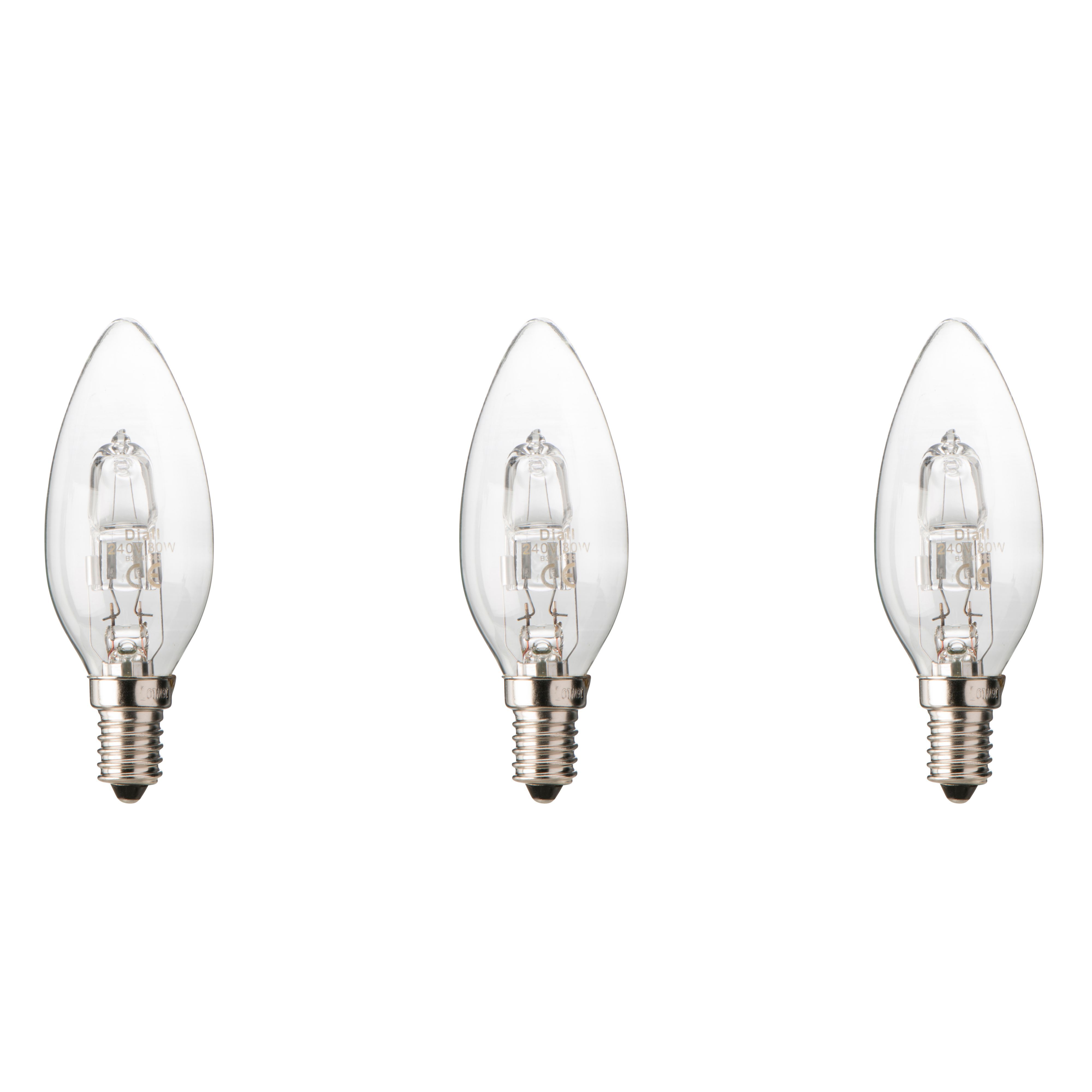 Diall E14 30w Halogen Dimmable Candle Light Bulb, Pack Of 3