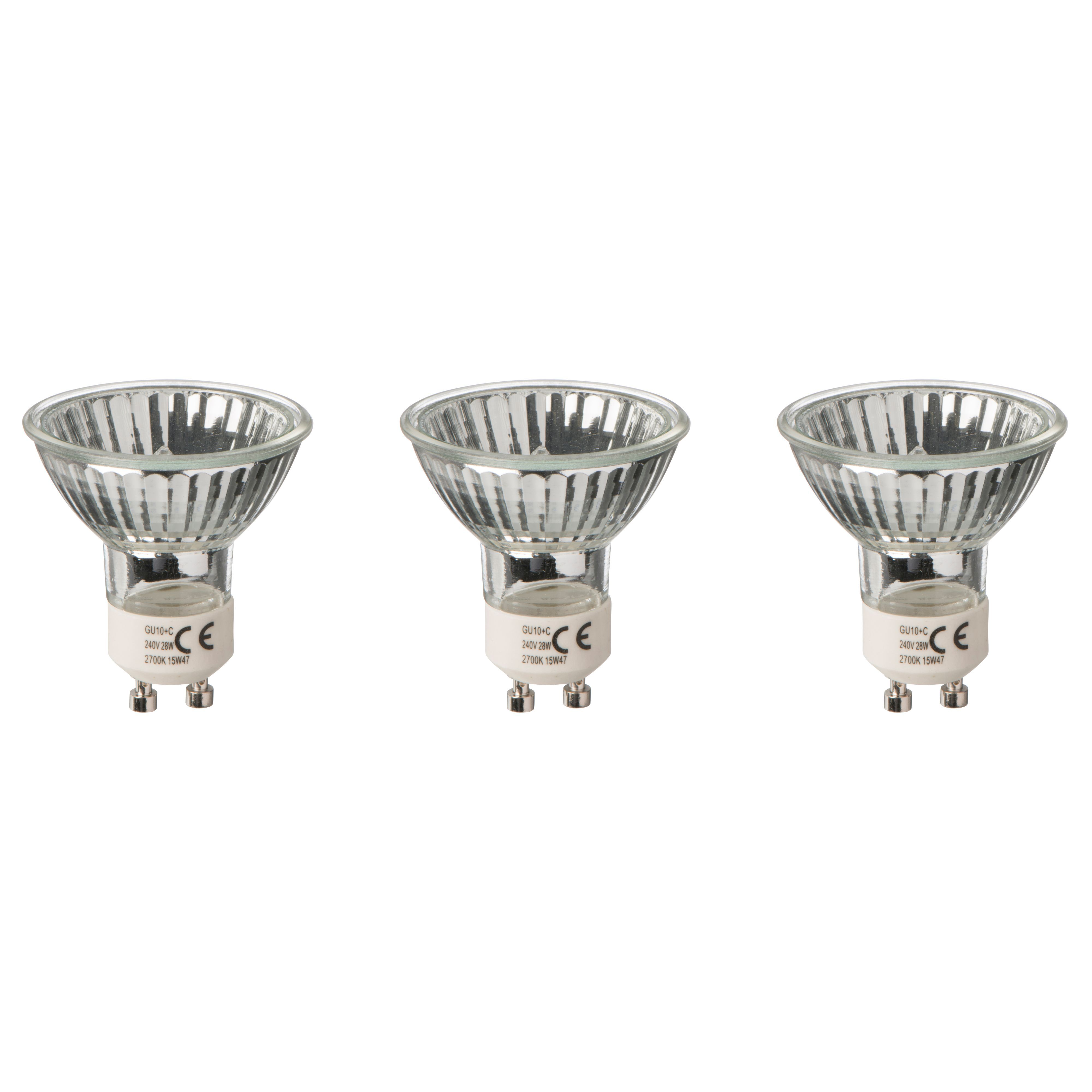 Diall Gu10 28w Halogen Dimmable Reflector Light Bulb, Pack Of 3