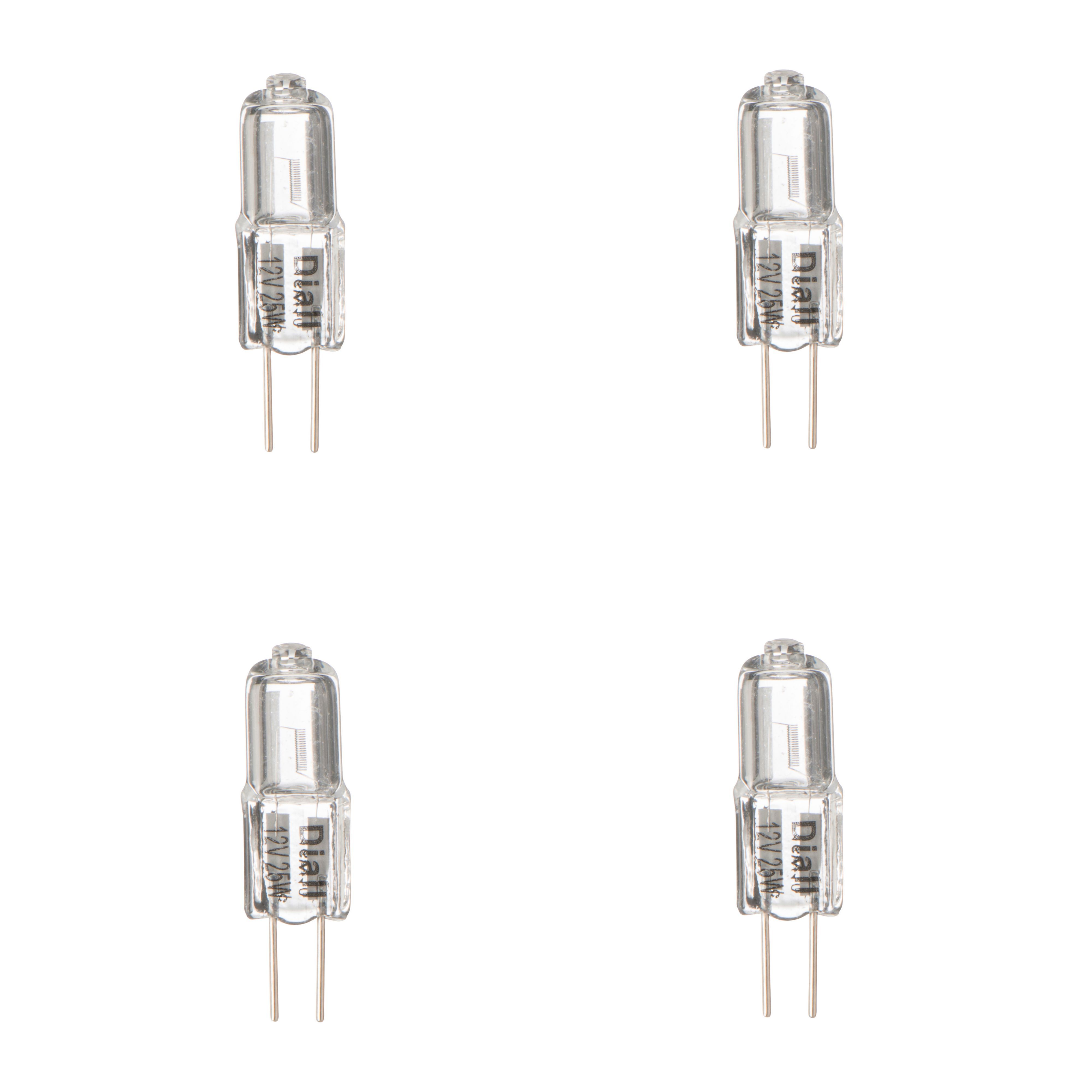 Diall G4 25w Halogen Dimmable Capsule Light Bulb, Pack Of 4