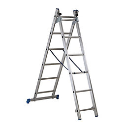 Mac Allister Trade Aluminium Combination Ladder with Stair
