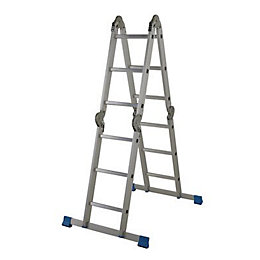 Mac Allister Aluminium Folding Ladder with Platform, (H)3.72M