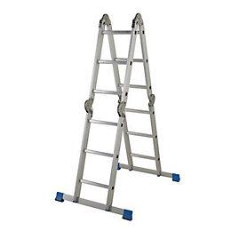 Mac Allister Aluminium Folding Ladder, (H)3.72M