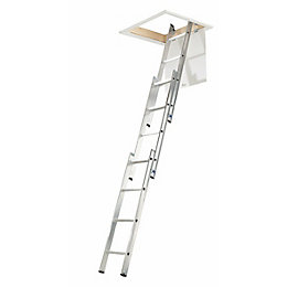3 Section Sliding Triple Extension Loft Ladder, (H)3000mm