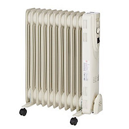 Electric 2500W Beige Oil Filled Radiator