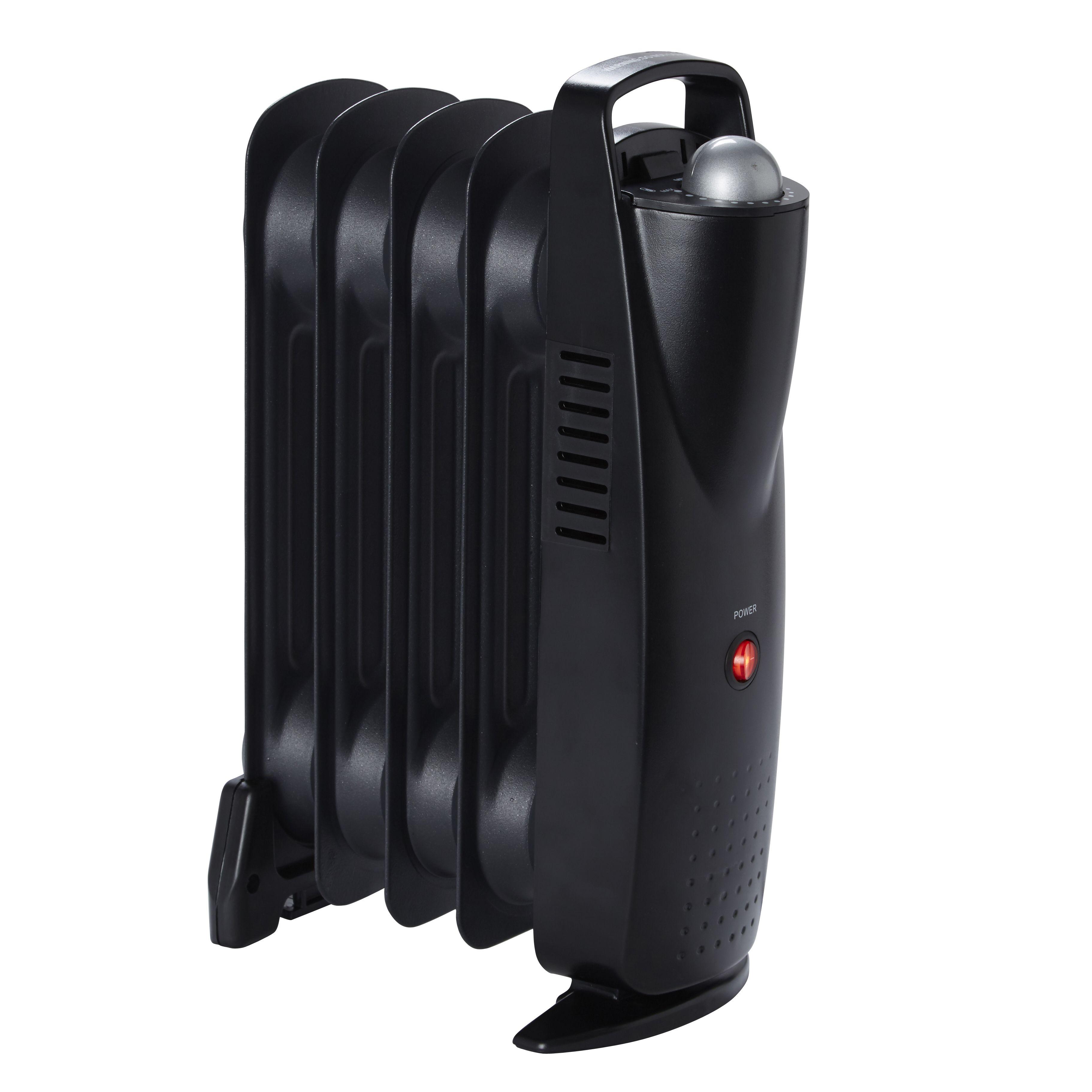Electric 500w Black Mini Oil Filled Radiator