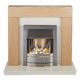 Blyss Ferndown Oak LED Freestanding Electric Fire Suite