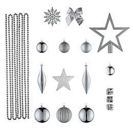 Silver Assorted Tree Decoration, Pack of 100