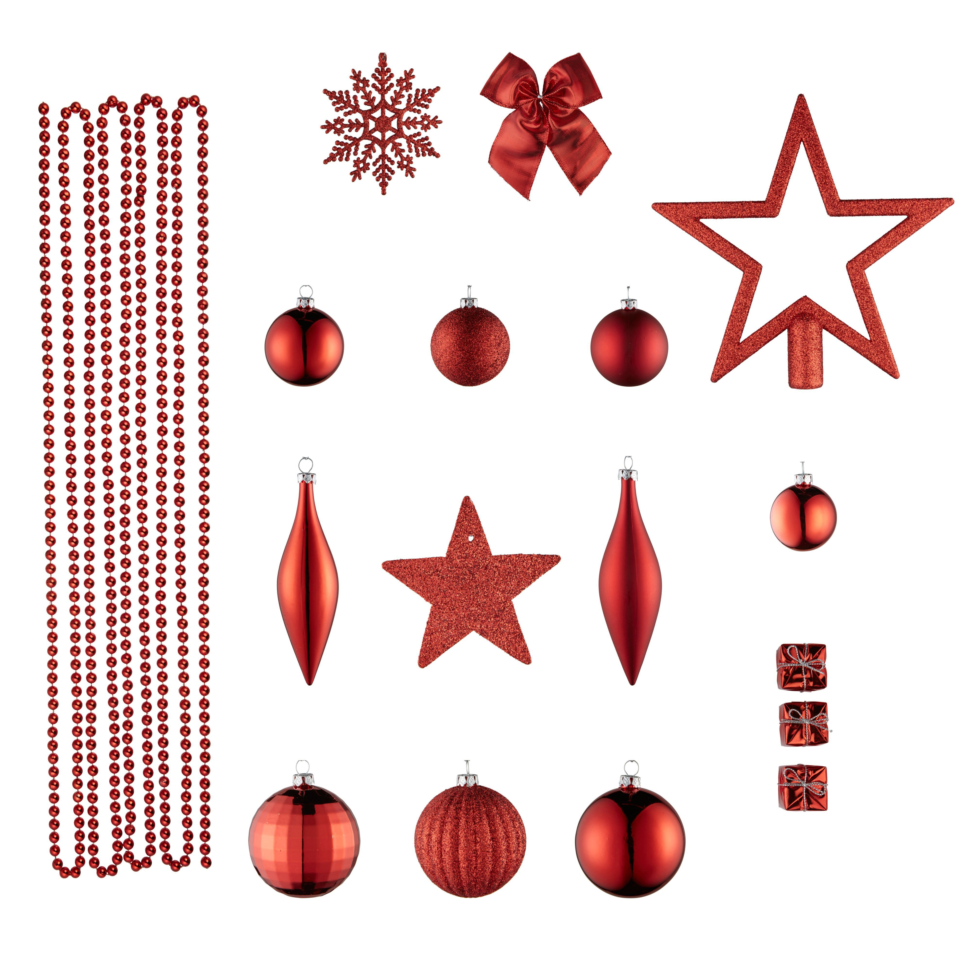 Red Assorted Tree Decoration, Pack Of 100