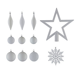 White Assorted Tree Decoration, Pack of 50