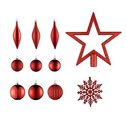 Red Assorted Tree Decoration, Pack of 50