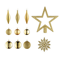 Gold Assorted Tree Decoration, Pack of 50