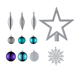 Silver, Teal & Purple Tree Decoration, Pack of