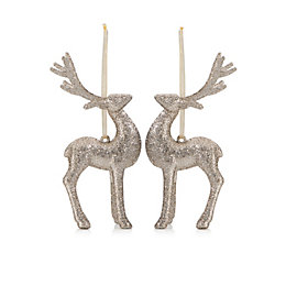 Glitter Champagne Reindeer Tree Decoration, Pack of 2
