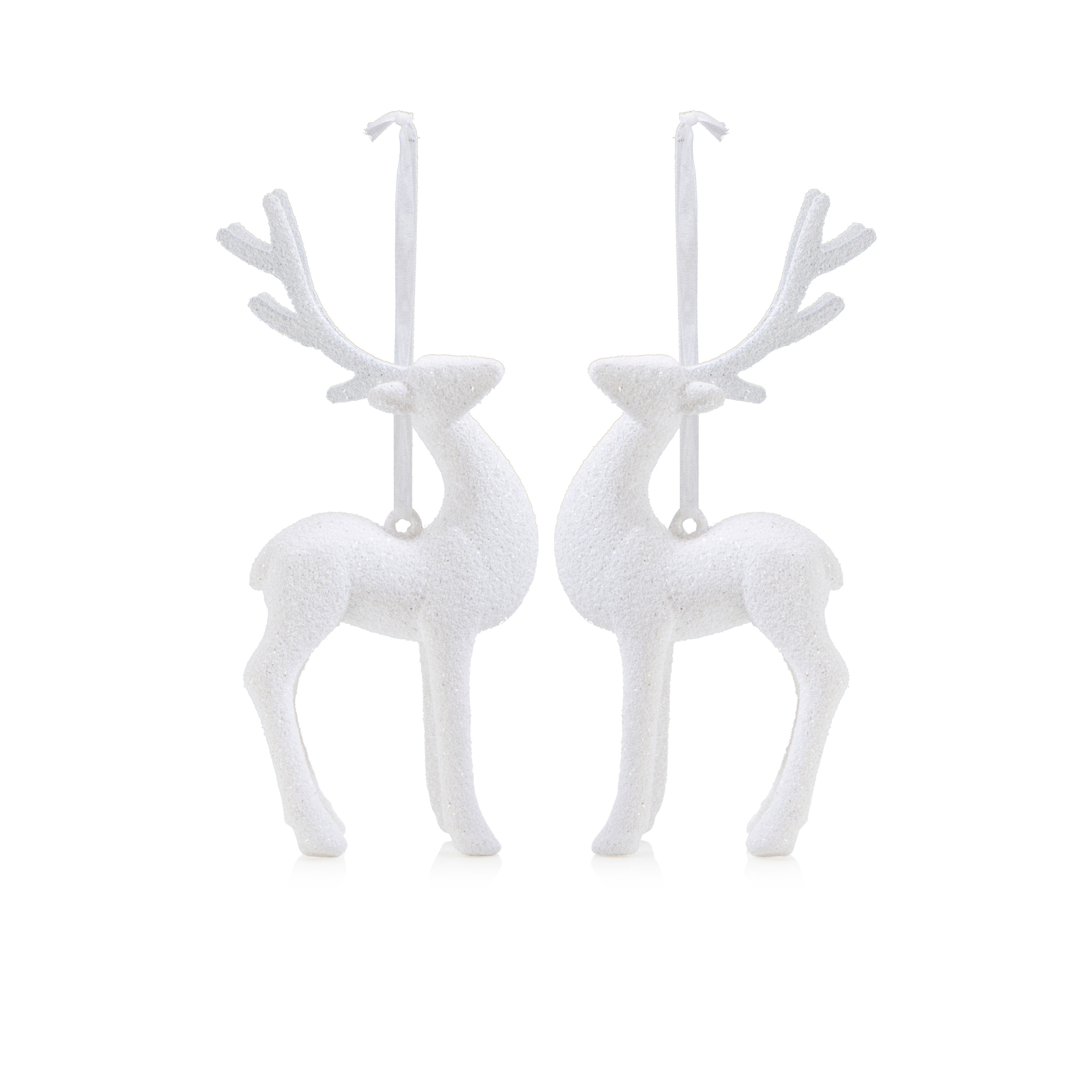 Glitter White Reindeer Tree Decoration, Pack Of 2