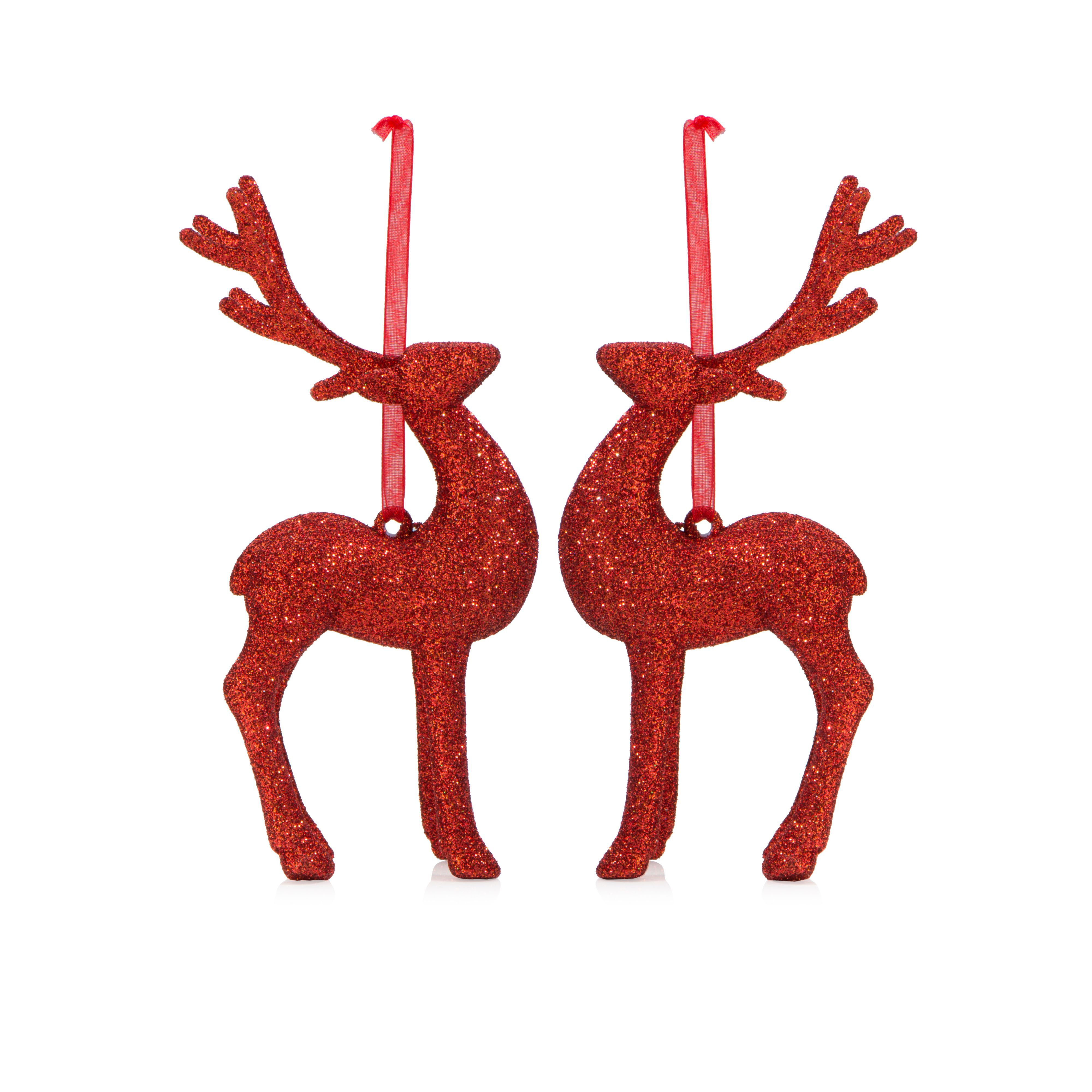 Glitter Red Reindeer Tree Decoration, Pack Of 2