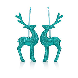 Glitter Teal Reindeer Tree Decoration, Pack of 2