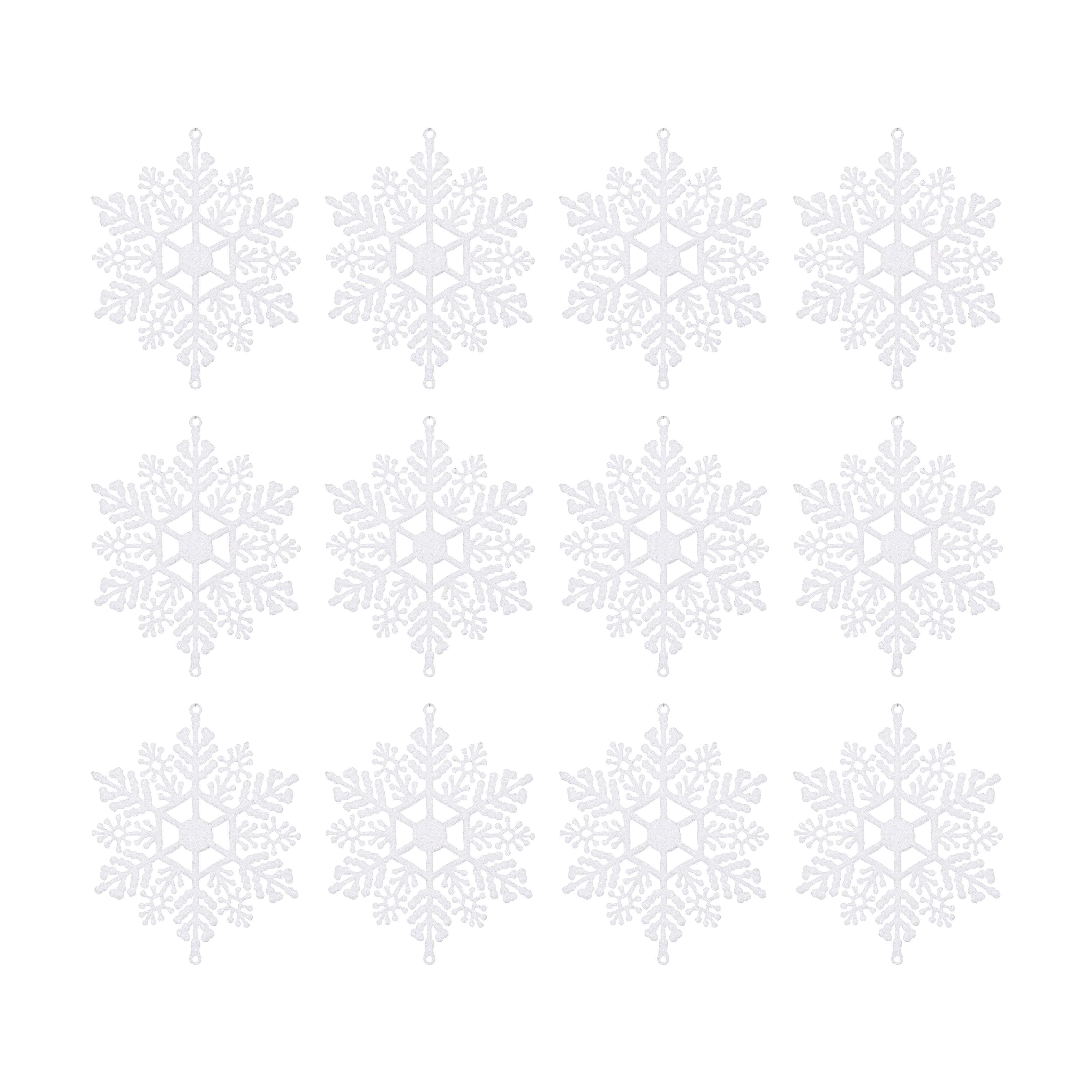 Glitter White Snowflake Tree Decoration, Pack Of 12