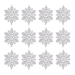 Glitter Silver Snowflake Tree Decoration, Pack of 12